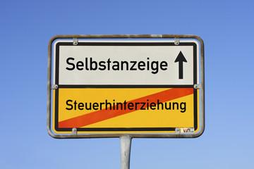 Schild Selbstanzeige © Matthias Buehner