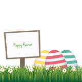 happy easter sign colorful eggs daisy meadow isolated background