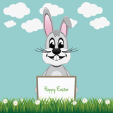 gray bunny hold happy easter board