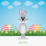 happy gray bunny green field colorful eggs