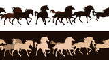 running horses herd seamless decor border