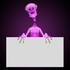 Pink Monster with White Panel 3D