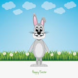 gray bunny green field happy easter