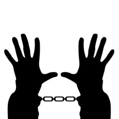 hands in handcuffs vector silhouette