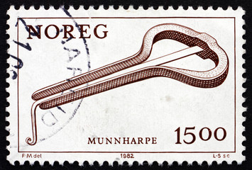 Postage stamp Norway 1982 Mouth Harp, Musical Instrument