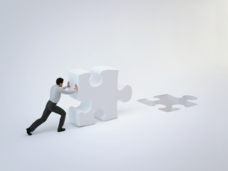 Businessman push puzzle