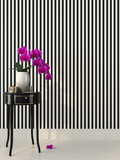 Pink orchid and striped wallpaper