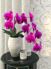 Pink orchid on the nightstand