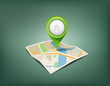 Folded maps with green color point markers