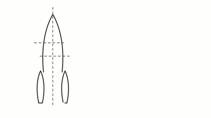 drawing of the rocket scheme on white