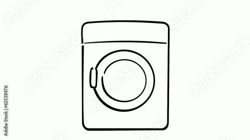 drawing of washing machine on white
