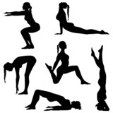Woman are making exercises. Fitness silhouettes - vector set