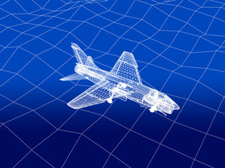 3D wireframe of warplane flies over a sea
