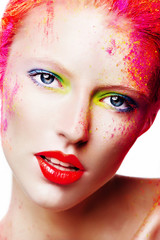 Portrait of a beautiful girl, colorful makeup, closeup