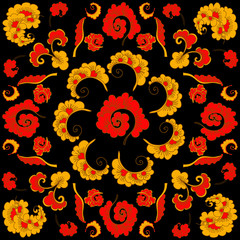 Abstract Hand-Drawn Floral Pattern