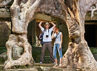 Beautiful couple at Preah Khan temple, Cambodia.
