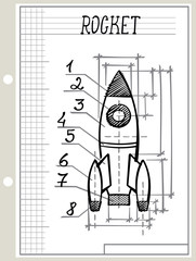blueprint with rocket scetch drawing