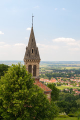 Viewpoint with church in France