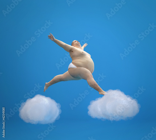 Fat man soaring in the clouds.