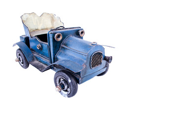Collection scale model of the retro blue convertible.
