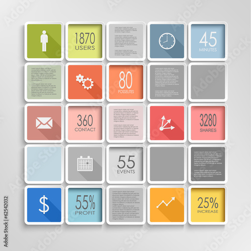 Abstract squares colorful info graphic template