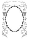 oval frame with torch light ribbons for portrait