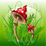 Mushrooms in the grass. Eps10
