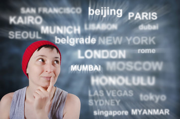 Young Woman Dreams About Where to Travel