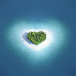 Leinwanddruck Bild - Island in the form of heart