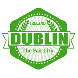 Dublin capital of Ireland label or stamp