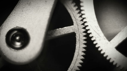 Old watch inside spring and gears Macro Footage