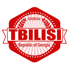 Tbilisi capital of Georgia label or stamp