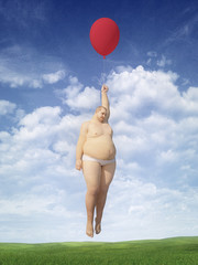 Fat man flying in a balloon.