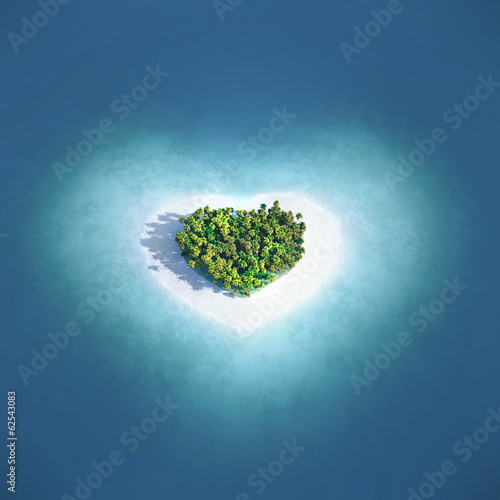 Leinwanddruck Bild Island in the form of heart