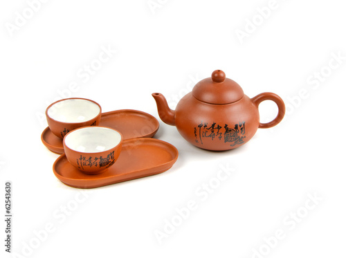clay teapot with cups