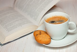 book and coffee with  cookies