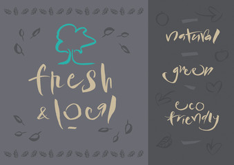 Vegetarian - Fresh & Local - Calligraphy