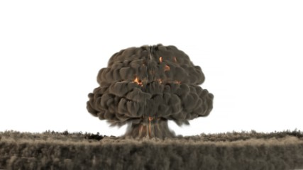Animation of a nuclear blast in slow motion with alpha channel