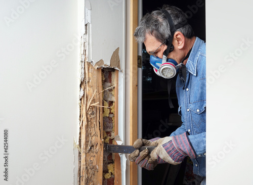 Man removing termite damaged wood from wall - 62544080