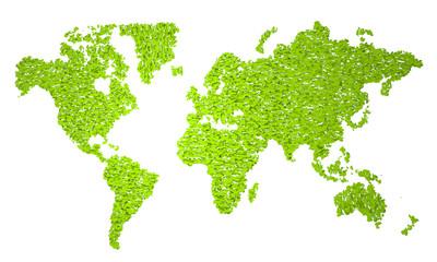 Planisfero, carta geografica stilizzata, natura foglie, verde