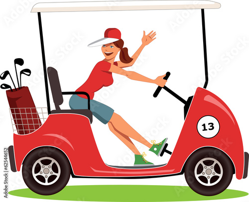 Woman driving a golf cart isolated on white