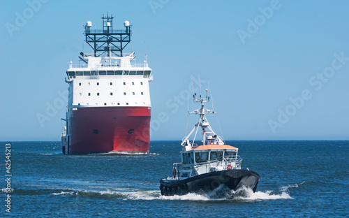 Supply Ship with Pilot Boat