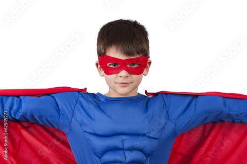 child superhero clothes isolated on white background