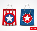 Set of star shopping bag vector