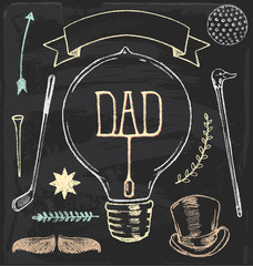 Hand Drawn Chalk Father's Day Vector Set