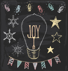 Hand Drawn Chalk Christmas Holiday Vector Set