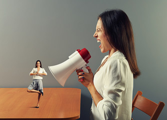 businesswoman shouting at small calm woman