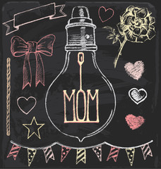 Hand Drawn Chalk Mother's Day Vector Set