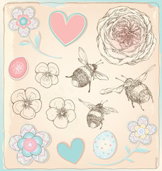Hand Drawn Vintage Bees, Flowers and Hearts Vector Set