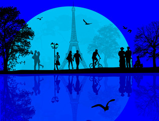 Paris cityscape and people silhouette